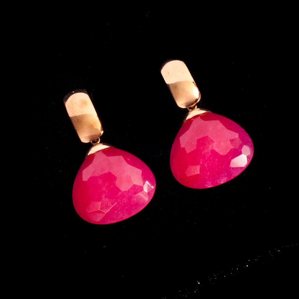 orecchine in oro rosa con giada euro 260